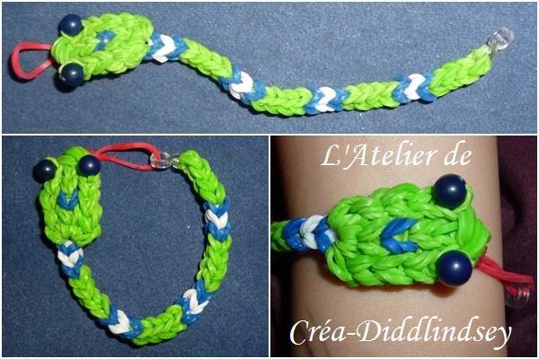 Bracelet en élastiques & Ci : Un jolie petit serpent vert et bleu