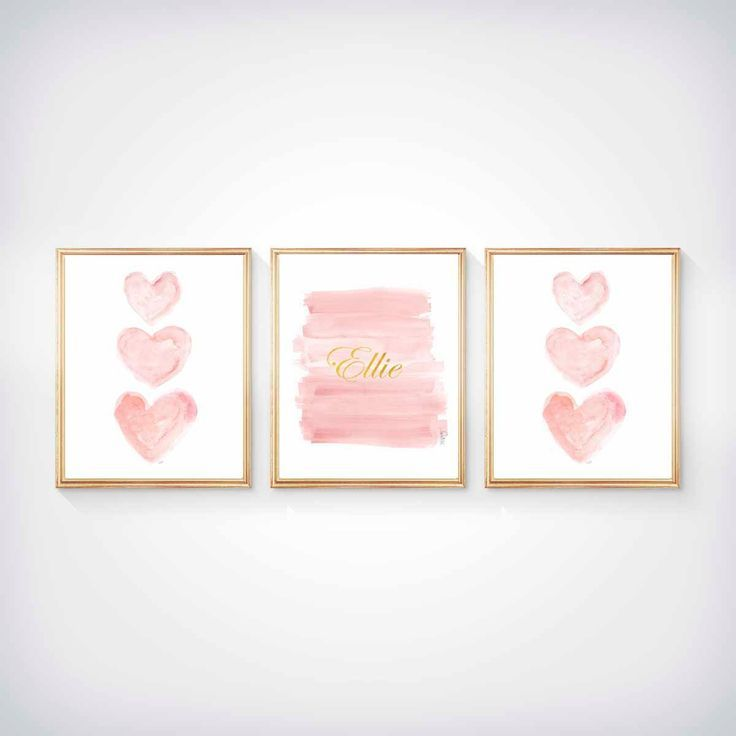 Blush and Gold Nursery Art, Set of 3 - 8x10 Watercolor Prints, Pink and Gold Wall Art, Pink and Gold Art, Blush Pink and Gold Nursery, by OutsideInArtStudio on Etsy https://www.etsy.com/listing/245394358/blush-and-gold-nursery-art-set-of-3-8x10