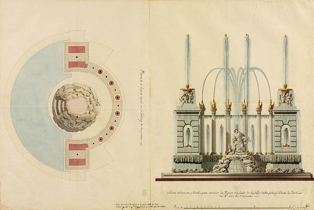 Spanish 18th & 19th century Architectural Sketches &c.: Planta y alzado de la Fuente de Apolo (Isidro Velázquez) (Iberia)