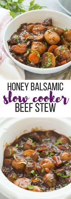 This Honey Balsamic Slow Cooker Beef Stew is full of flavor and couldn't be easier -- just throw everything in and let it cook! Loaded with veggies and thick honey balsamic sauce. Step by step recipe video. | slow cooker recipe | easy dinner recipe | healthy dinner recipe | fall food | soup | make ahead #slowcookerrecipes #crockpot #crockpotrecipes