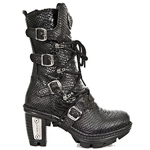 NEW ROCK NEOTR005-S19 RAW PYTHON BLACK GOTHIC ROCK PUNK LADIES LEATHER BOOTS *** Visit the image link more details.