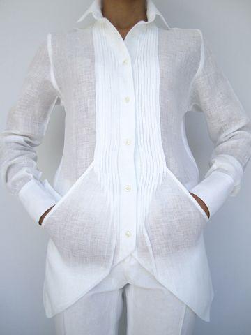 Camicia Garza C/ tasche Donna Bianco $380.00