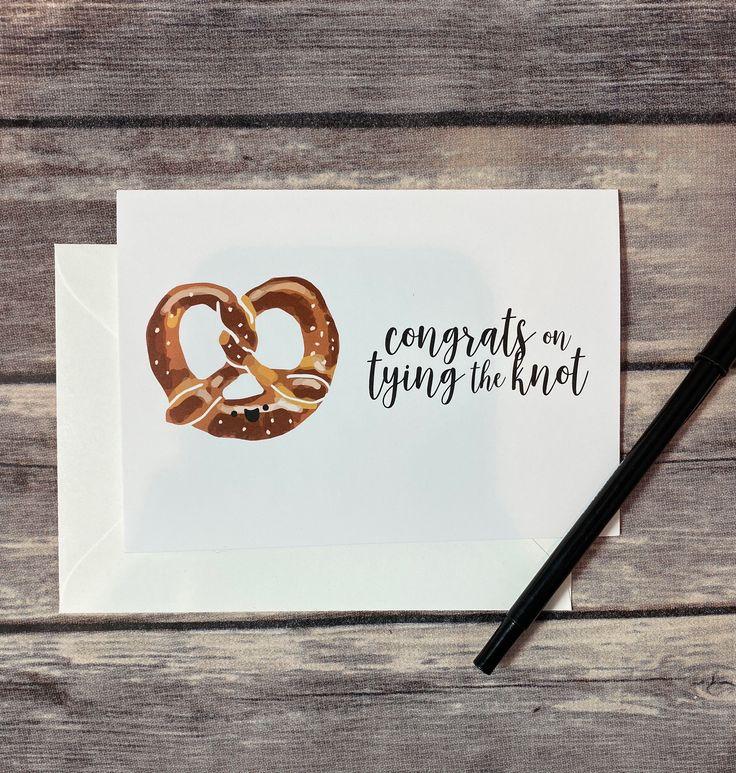 Funny congrats on tying the knot pretzel food pun wedding