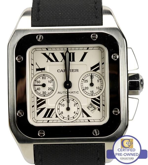 MINT Cartier Santos 100 XL Chronograph Watch Brand                                Cartier (Guaranteed Authentic) Model Santos 100 XL Reference Number W20090X8 /