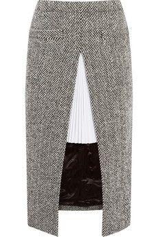 Sacai Twill-paneled herringbone wool-blend skirt   NET-A-PORTER