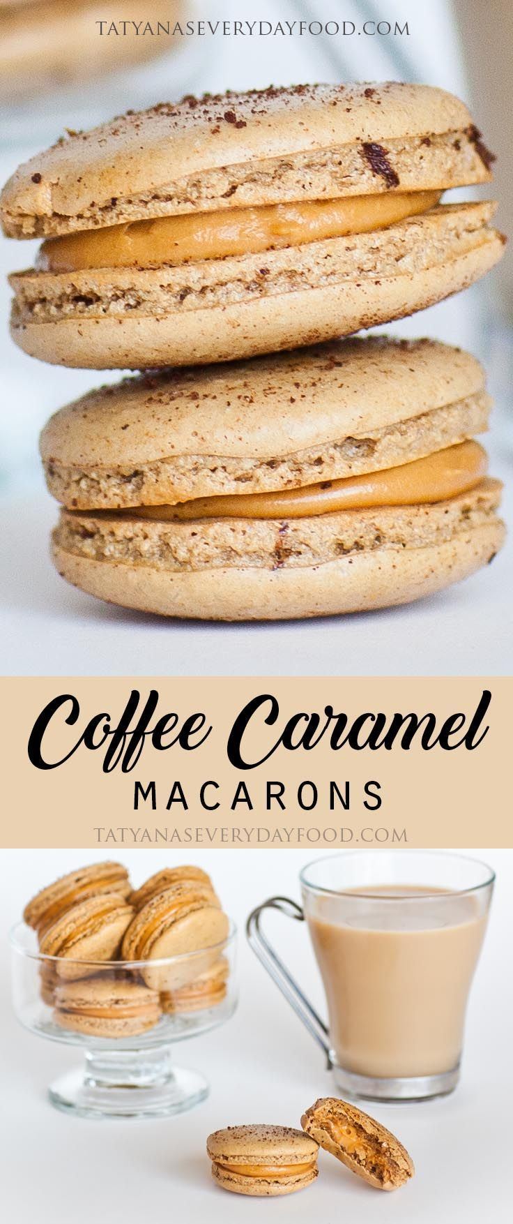 """These coffee macaron cookies are simply heavenly! A delicious combination of coffee and salted dulce de leche frosting! Macarons are easier to make than you think, just watch my step-by-step video! Click below on the """"HOW-TO"""" tab to see my video recipe.:"""