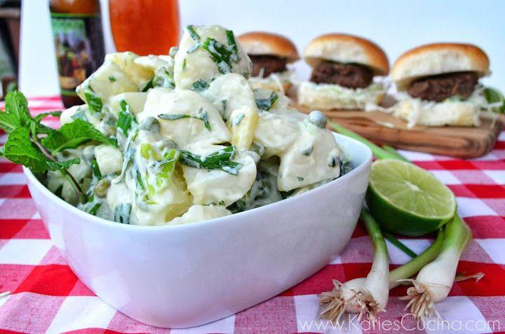 Green Onion & Pea & Potato Salad with Lime Zest, Mint and Greek Yogur...
