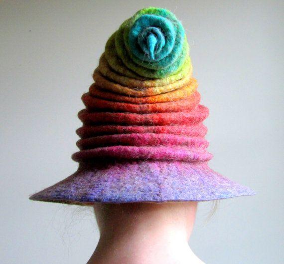 Wizard Hat. Witch Hat. Felt Hat. Ren Faire Hat. Cosplay Hat by HandiCraftKate on Etsy $125
