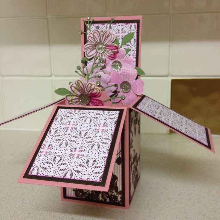 Purple Cat Crafts: Card in a box. Stampin Up Flower shop