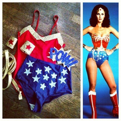 DIY - Super Woman Costume! I bought the red leotard and high waisted royal blue bottoms at American Apparel. The cuffs were made from gold s...