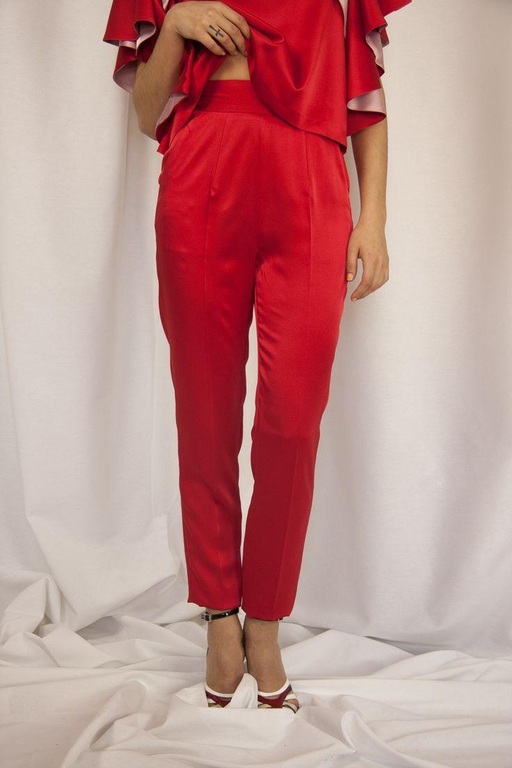 eturel - #ETURELSILVI  Pantalon recto Cinturilla ancha Cremallera invisible trasera Bolsillos laterales Largo por tobillo Efecto satinado