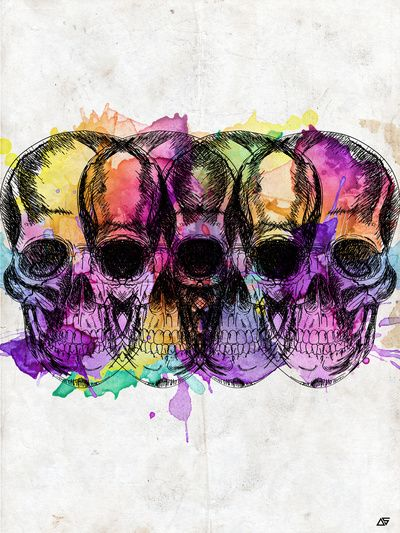 Watercolour skull art work! Would look fab in a plain white frame