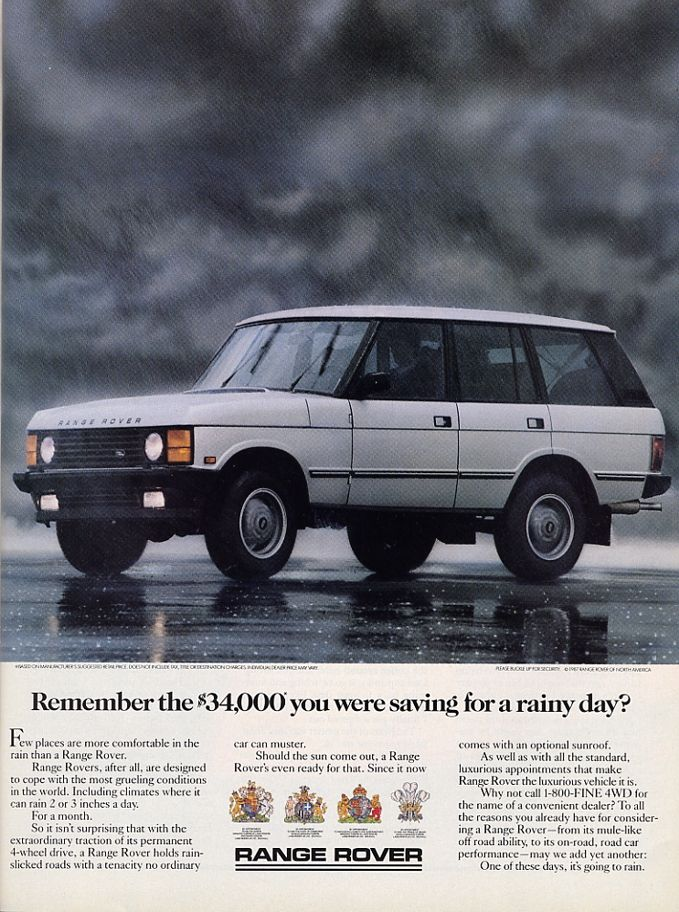 The Range Rover used to occupy the same price point as a 3-Series? And it didn't look like a blinged out rapper mobile? Oh how I want to go back to the 90's!