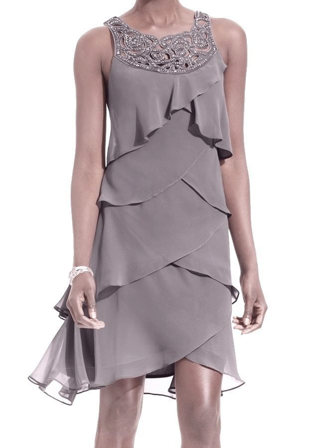 T12 $79 S.L. Fashions NEW Gray Frost Women's Size 14 Chiffon Petal-Tiered Dress $99 #114 #SLFashions #Tiered #Cocktail