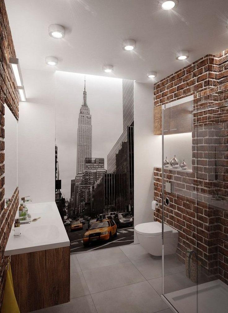 Moderne Badgestaltung mit Blumen-Fototapete an der Wand Bad - badezimmer ideen für kleine bäder