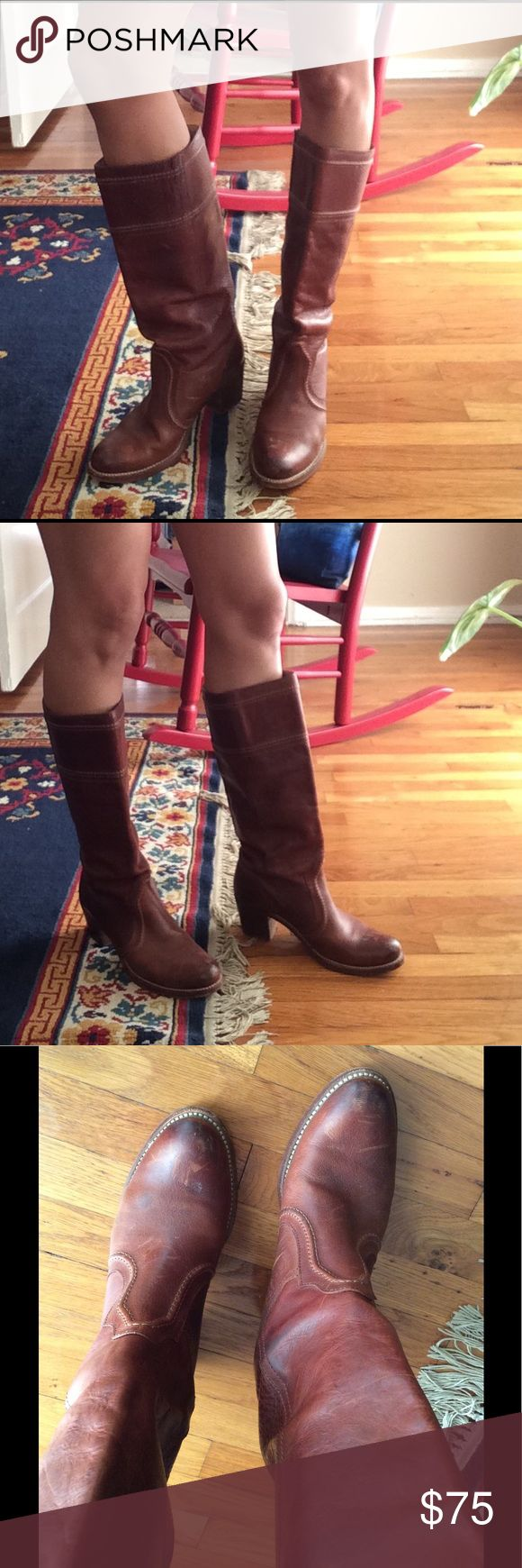Frye Riding Boots Brown leather Frye Riding Boots. Frye Shoes Heeled Boots
