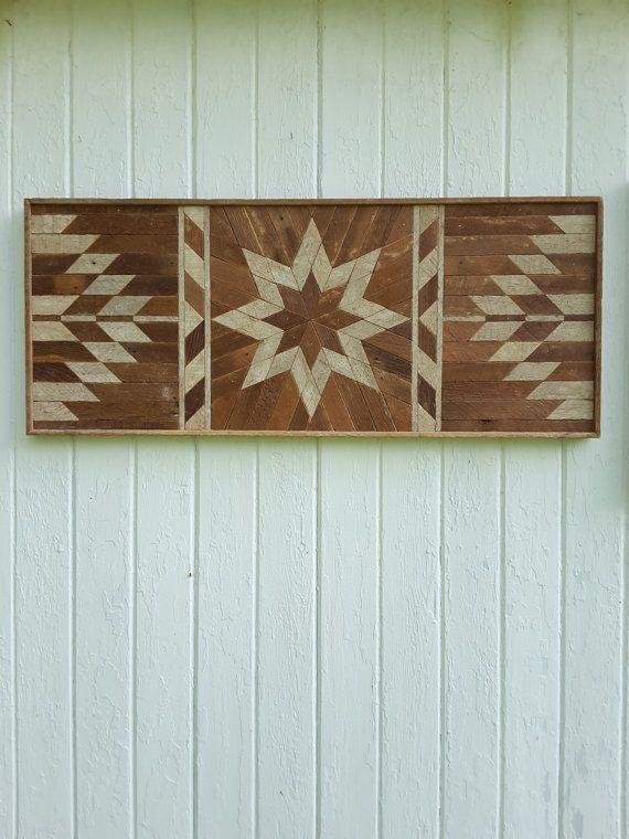Reclaimed Wood Wall Art-Lath Art-Twin Headboard-Wood Wall Decor-Bedroom Decor-Geometric Design-Star-Diamond Pattern-Natural.