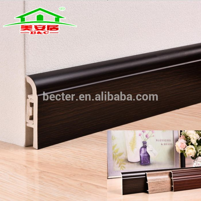 PVC Oak Wood Grain Skirting Board for Inteiror Decoration