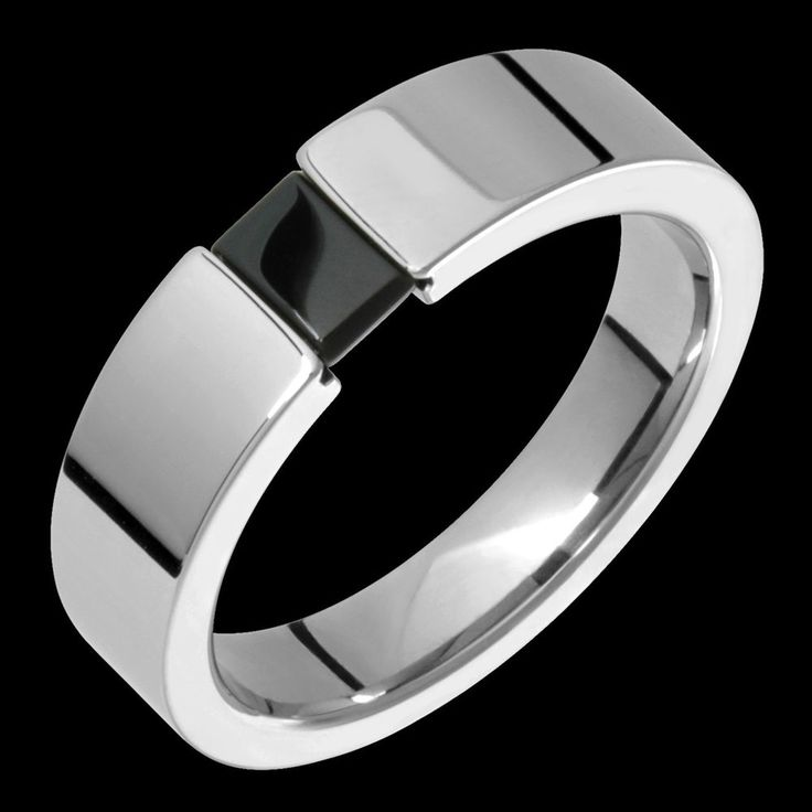 New Mens Anium Ring Black Onyx Tension Set Wedding Band For Engagement
