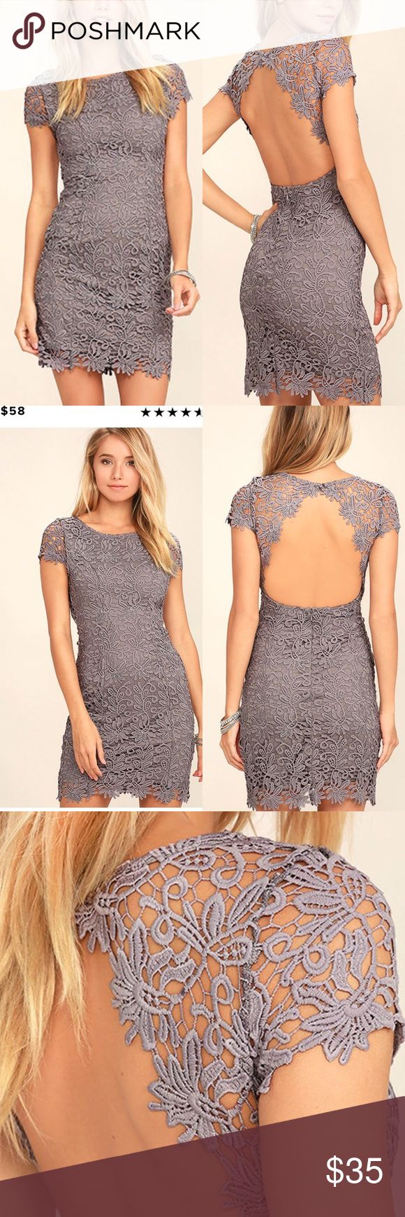 Backless Lace dress We admire any girl who can put together a great outfit, but honestly, the Hidden Talent Backless Grey Lace Dress makes it easy! This beautiful bodycon dress has sheer cap sleeves and a backless design (with top button). Hidden back zipper/hook clasp. Note: this dress is a beautiful grey/Lavender that's much more beautiful in person - they Lavender hue is subtle.  Lined. 100% Polyester. Hand Wash Cold. Imported. Dresses