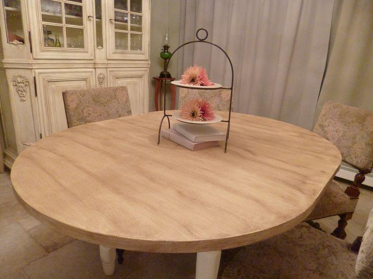 Resultaat van de gepatineerde eikenhouten tafel (1).