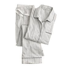 Pajama set in heathered gingham flannel - HTHR DUSK