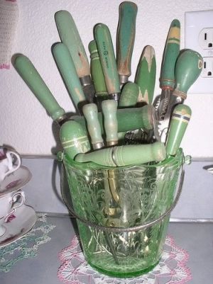 vintage green kitchen tools by Fern Marilynn