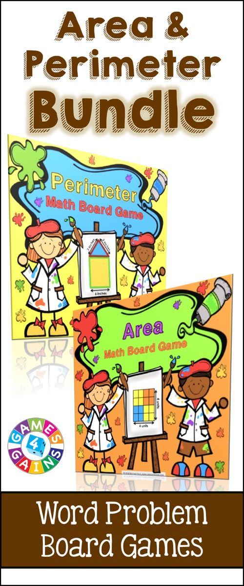 Area and Perimeter: Area and Perimeter Games Bundle includes two of our most popular board games, Area Board Game and Perimeter Board Game, for 10% off of their individual prices. These area and perimeter board games work great as a pair/group activity, in math centers, or as an informal assessment tool. https://www.teacherspayteachers.com/Product/Area-and-Perimeter-1858690