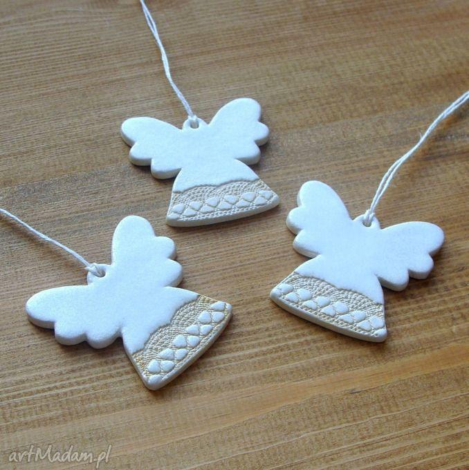 Aniołki ceramika pracownia ako anioł aniołek perłowe koronka