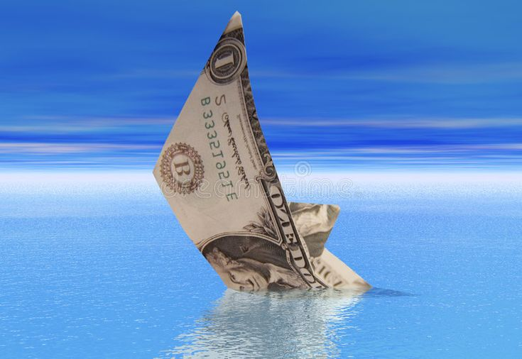 Dollar boat sinking. A boat made from a dollar bil…