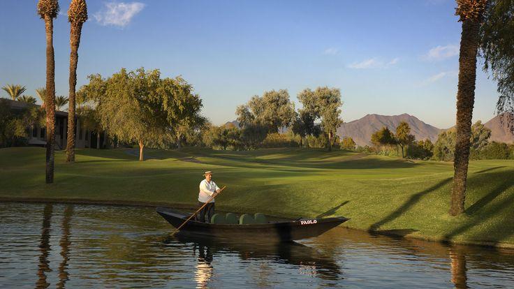 Gondola Gondala! Enjoy a romantic escape on our handcrafted Italian Gondala boats at Hyatt Regency Scottsdale.