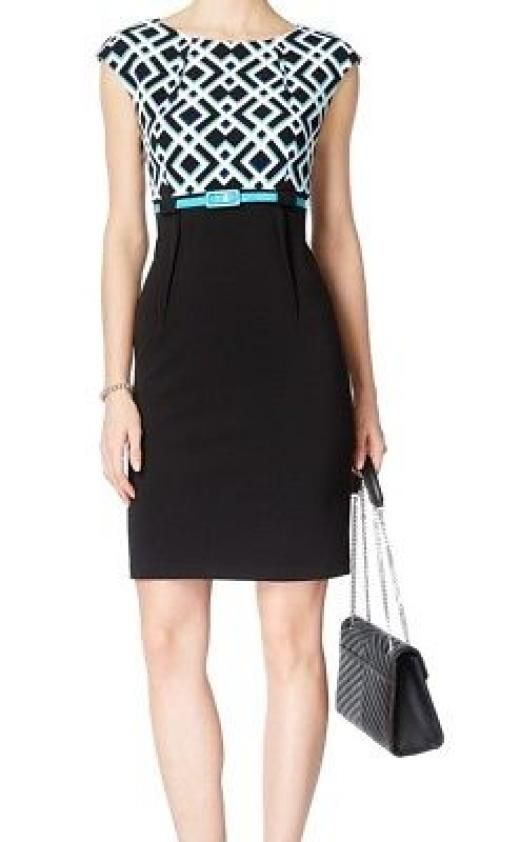 Connected Apparel New Black Women's 4p Petite Belted Sheath Dress $69 #024 Petites Polyester Cocktail Above Knee Mini Blacks Yes Back Zipper