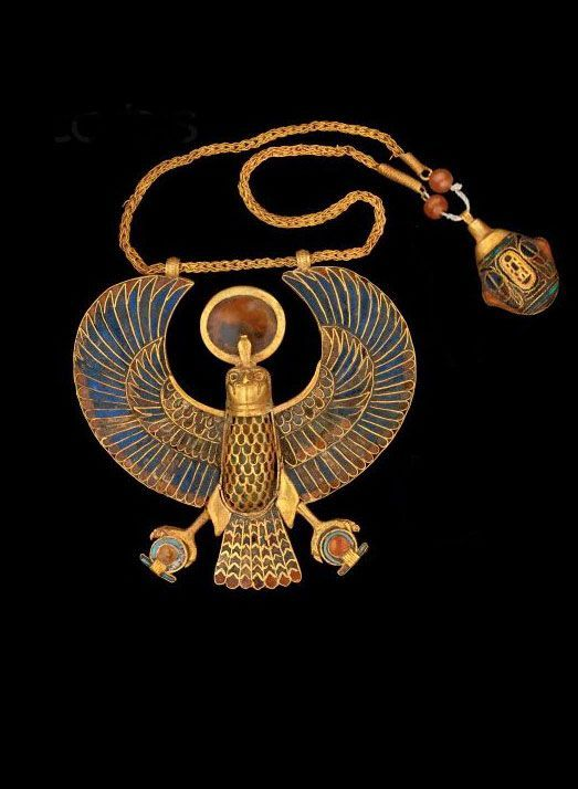 Necklace with falcon pendant ~ Ancient Egypt. (This is more than just a necklace if you ask me. /Stefan Loå):