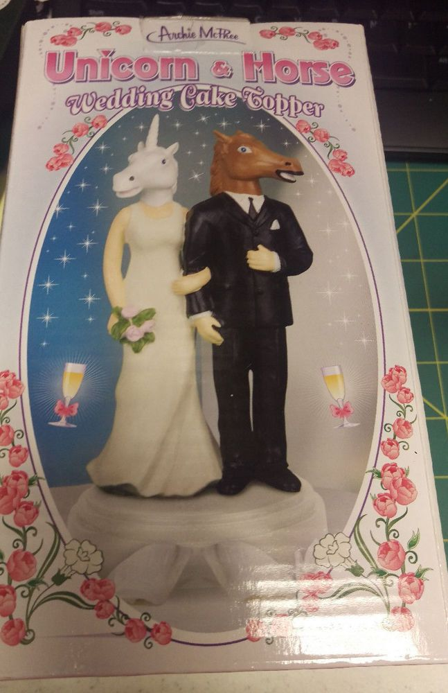 Unicorn Horse Mask Wedding Cake Topper New In Box Great Looking Accoutrements Weddingcake Novetly