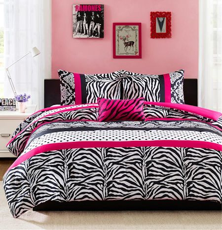 Hot Pink Black & White Zebra Print Teen Girl Bedding Twin Full/Queen XL Comforter, Quilt, Duvet Set