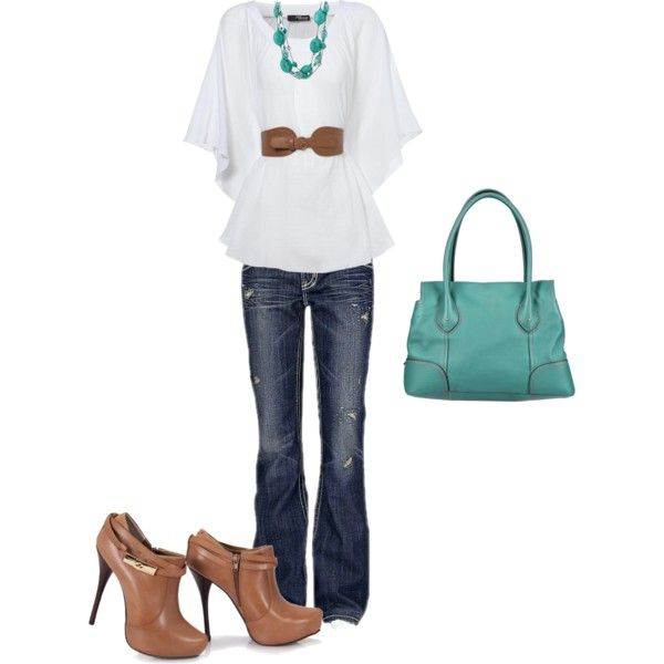 Brown & Turquoise, created by kmosser on Polyvore