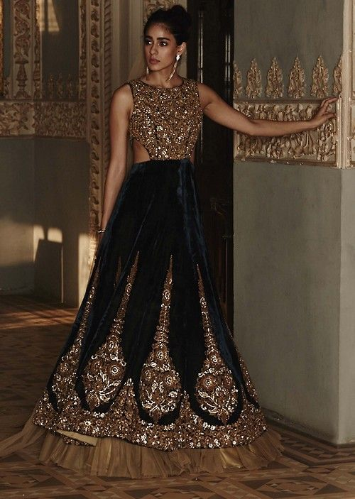 Black Gold reception dress