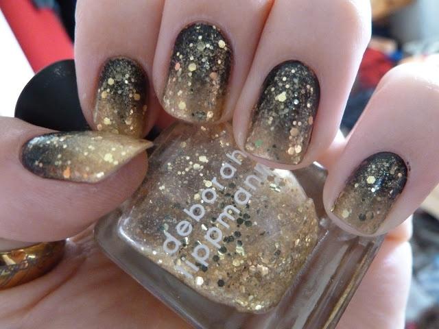 Gold glitter gradient nails {Sephora by OPI Charge It, Avon Black As Night, Deborah Lippmann's Boom Boom Pow}