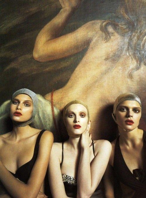 """Iron Butterflies"". Hana Soukupova, Karen Elson and Elise Crombez photographed by Steven Meisel for Vogue Italia, June 2004"