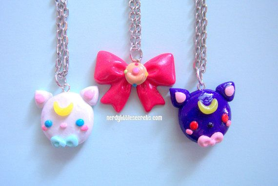 SET of Sailor Moon Luna Artemis Compact Bow by NerdyLittleSecrets