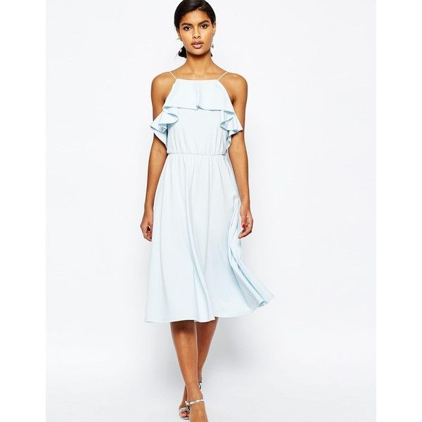 ASOS Ruffle Midi Skater Dress ($41) ❤ liked on Polyvore featuring dresses, paleblue, strappy skater dress, white ruffle dress, white strap dress, white skater dress and flutter-sleeve dress