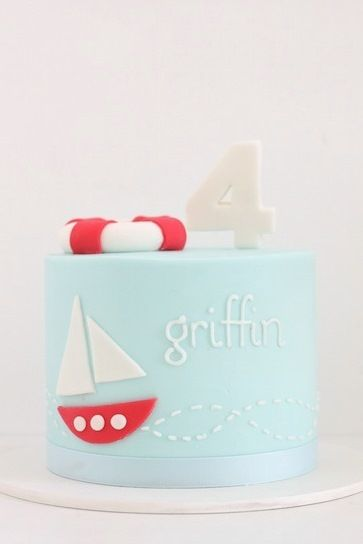 Baby Blue Cake with Red & White Sailboat (Griffin)