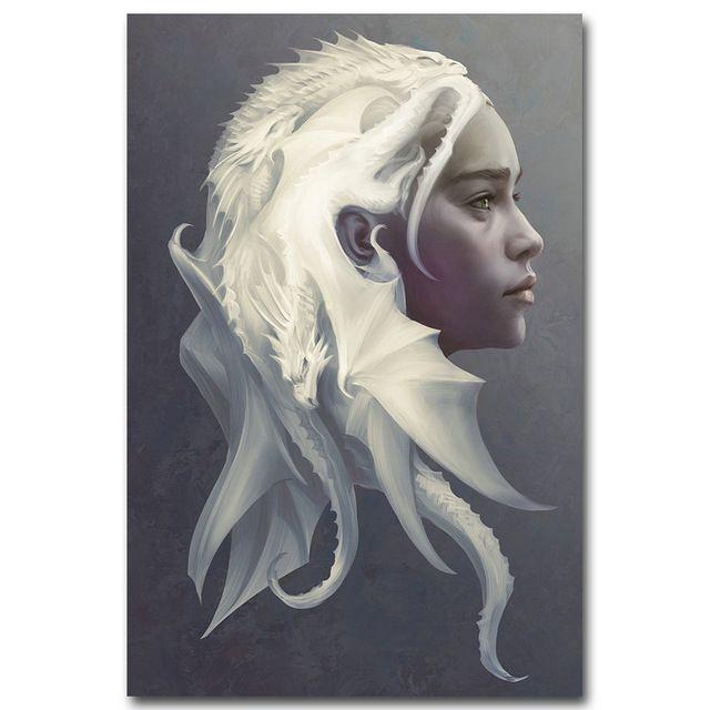 Juego de Tronos NICOLESHENTING Todos Los Personajes Arte de Seda Impresión Del Cartel 12x18 24x36 pulgadas Pared de Daenerys Targaryen cuadro 048