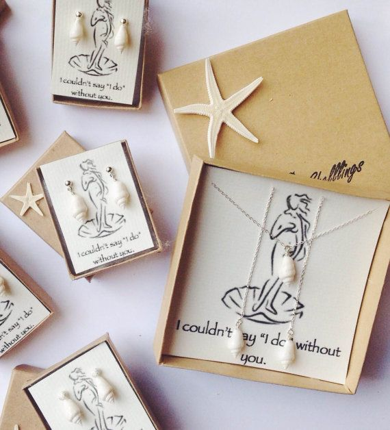 Bridesmaid Gift Set of 4 Will You be My Bridesmaid Bridal Earrings | Beach Wedding Jewelry | Gift Set for Maid of Honor | Bridal Party