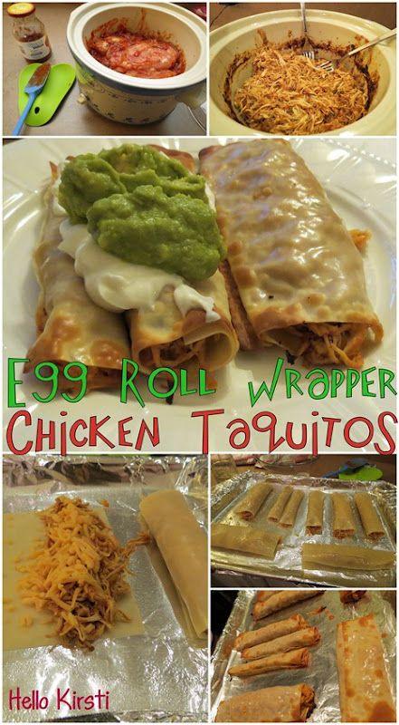 HK Skinny Chicken Taquitos use egg roll wrappers to save fat and cals. Soo yummy I invented them, ate them, and blogged them all in one night! Definitely eager to share!