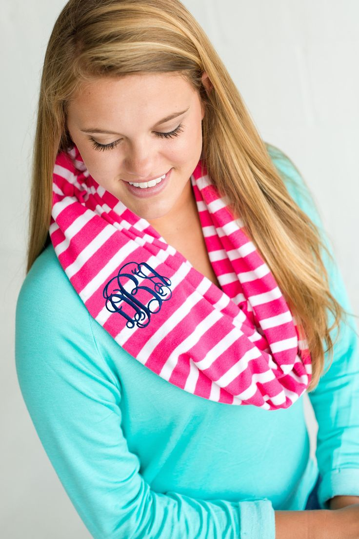 Monogrammed Hot Pink Striped Infinity Scarf - The Pink Lily
