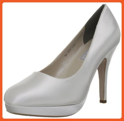Touch Ups Women's Sammi Platform Pump,White Satin,7 M US - Pumps for