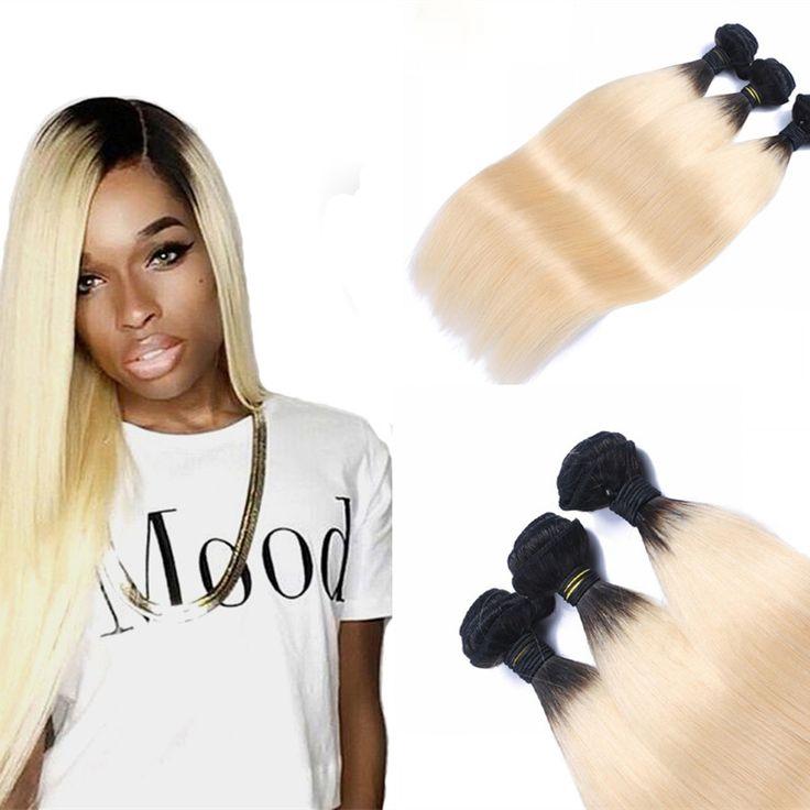 Full Shine Dark Roots Ombre Human Hair Blonde Weave Bundles Brazilian Hair 3 Pcs/Lot Full Head Sew in Weave