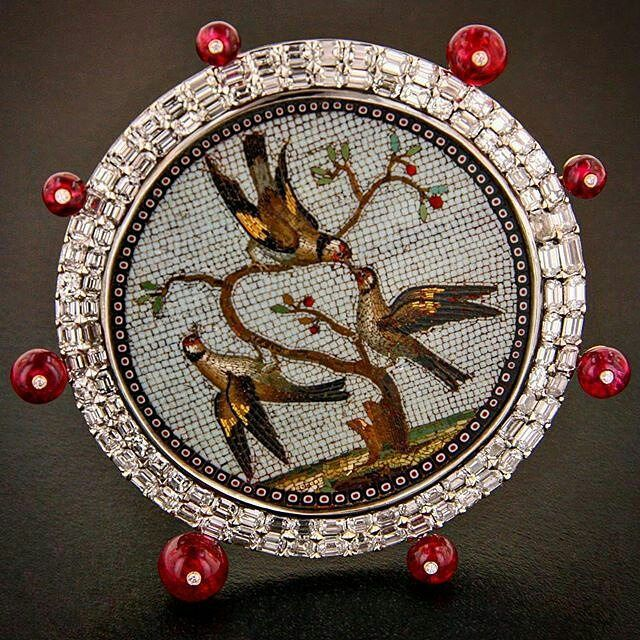 Antique micro-mosaic Brooch with diamonds and spinels.