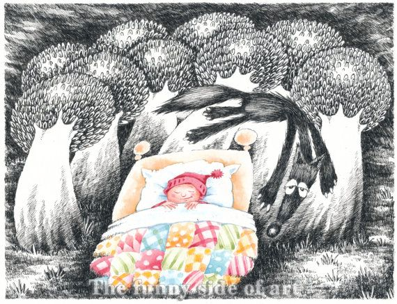 Original pen & ink, watercolor child illustration, Little Red Riding Hood and the Big Bad Wolf   No 2, nursery wall art, Funny Valentine